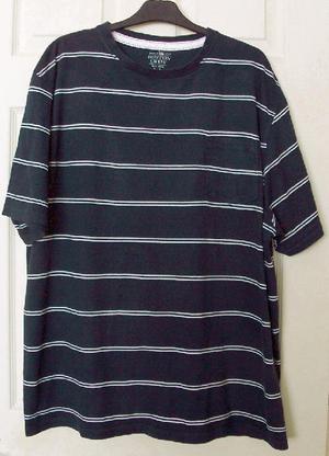 Men's Navy/White Striped T Shirt By Boston Crew - Sz XXL