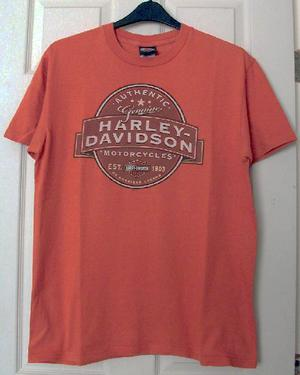 Mens Orange Harley Davidson Motorcycle T Shirt - Sz L B5