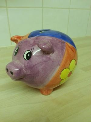 Multi coloured Piggy Bank and her tiny piggy bank friend