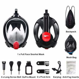 New - Full Face Snorkel Mask with Detachable GoPro Mount and Earplugs
