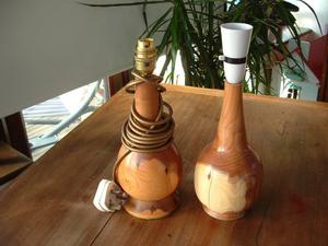 Pair of wooden yew lamps