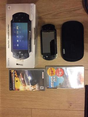 Sony PSP console with 2 games