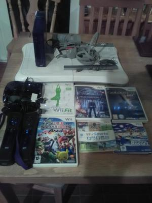 Wii console, balance board and accessories