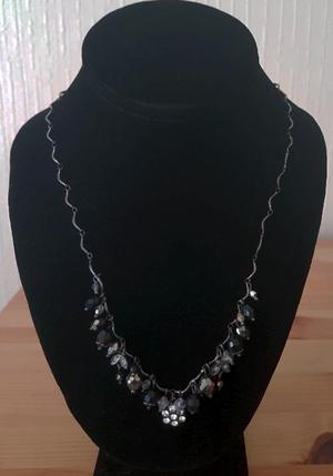 pretty black beaded necklace with diamante decoration