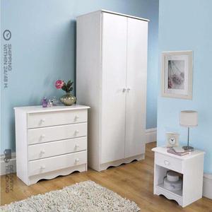 Brand New Trafford 3 Piece Bedroom Set Spacious 2 Door