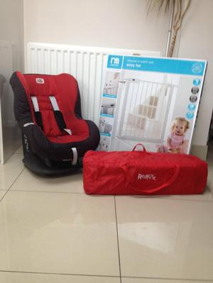 Child's car seat travel cot and safety gate