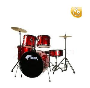 Full size red. Tiger Drum kit with stool and drum sticks