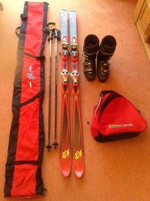 K2 Skis with Salomon bindings, Nordica Boots, Kerma poles, boot & ski bag