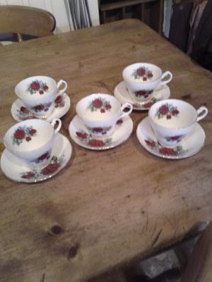 rose pattern tea cup and saucer