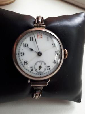 ww1 military solid silver trench watch & unusual orig strap