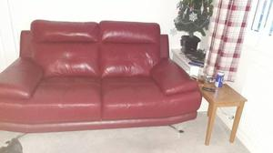 2x2 seater red leather sofas