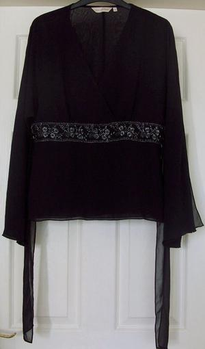 BEAUTIFUL LADIES BLACK TOP WITH TIE DETAIL - SZ 12