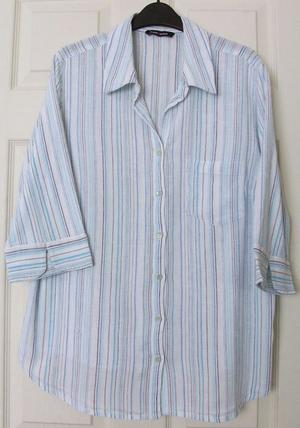 BLUE STRIPE COTTON BLOUSE BY EAST COAST SZ 20. B17