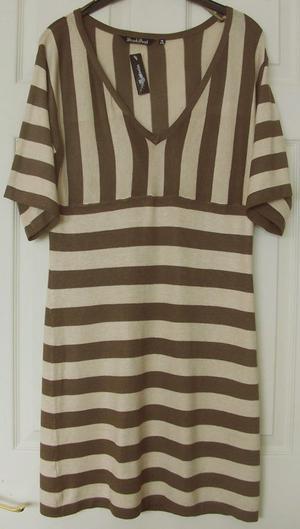 BNWT 2 TONE BROWN STRIPED DRESS BY BRAVESOUL SZ 12 (B3)