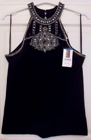 BNWT BLACK SLEEVELESS TOP WITH GLITTER DETAIL - SZ XXL