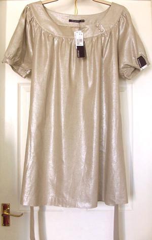BNWT LADIES METALLIC LOOK DRESS WITH TIE DETAIL- SZ 16