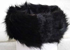 BRAND NEW WOMENS GOOD QUALITY FAUX FUR BLACK HEADBAND/HAT