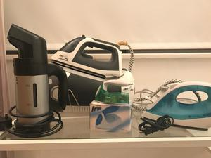 Clothes steamer and three irons, one Morphy Richards