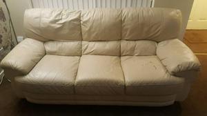 Cream Leather Sofas 3 + 2 + 1