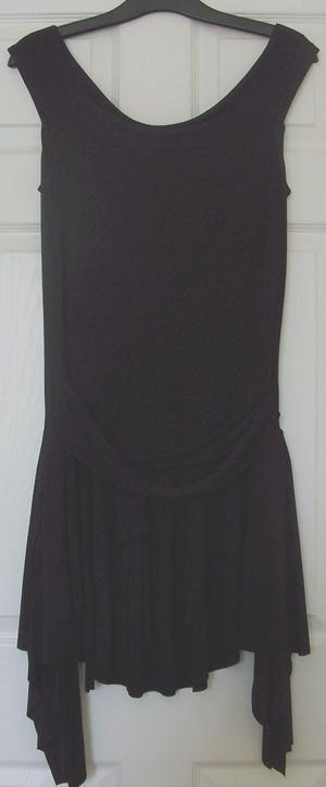 LADIES BLACK HANDKERCHIEF DRESS WITH BELT DETAIL - SZ M