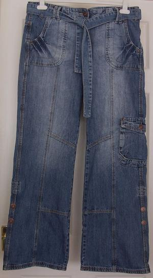LADIES DENIM JEANS WITH TIE BELT BY DOROTHY PERKINS - SZ 14