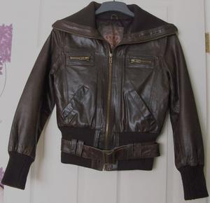 LADIES GENUINE BROWN LEATHER JACKET BY NEW LOOK - SZ 12 B11
