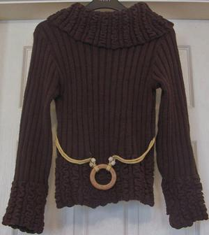 "LOVELY BROWN JUMPER WITH BELT DETAIL - 32"" BUST B13"