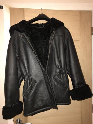 Ladies black leather sheepskin lined hooded jacket size M