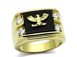 Men's 24k Gold Over Steel Genuine AGATE Black Stone Eagle