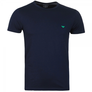 Mens Emporio Armani White and Navy Blue T-Shirts Pack of 2