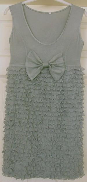 PRETTY LADIES FRILLED DRESS WITH BOW DETAIL - SZ M/L