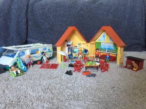 Playmobile house, campervan and dog kennel