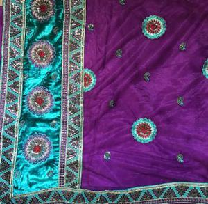 Purple nett saree