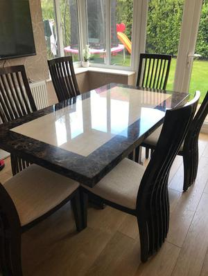 REAL Marble Table with 6 Chairs and Matching Side Cabinet