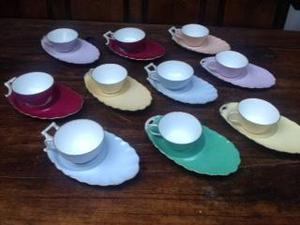 SET OF 10 FRENCH TEACUPS AND GALETTE SAUCERS