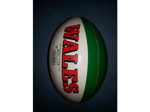 WALES RUGBY BALL WITH WELSH RED DRAGON - WHITE, GREEN AND