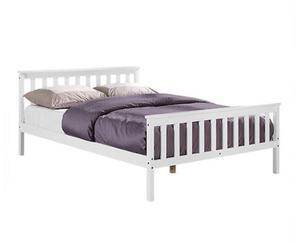 White solid country wooden wood pine small double bed(4ft) with mattress