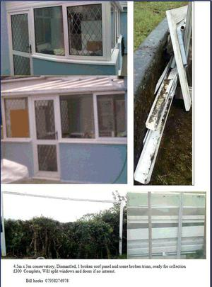 4.5m x 3m conservatory, Dismantled,