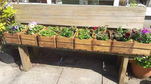8 Handmade wooden planters with flowers
