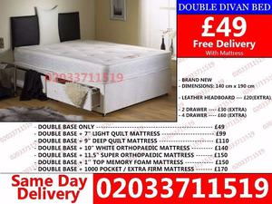 Amazing Offers 60%OFF Brand New Double Divan Bed Available with Mattress Warwick