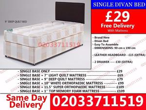 Amazing Offers 60%OFF Brand New Single Divan Bed Available with Mattress St. Louis