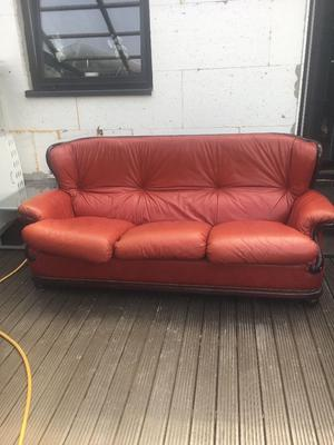 BARGAIN!!! Real italian leather ox blood chesterfield sofa set vintage style sofa
