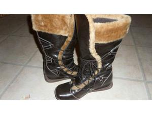 BRAND NEW Leather Fur Dark Brown Boots Size 7