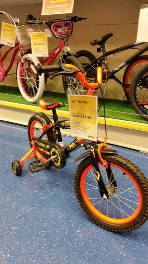 "Boys 16"" bike with stabilisers can deliver"