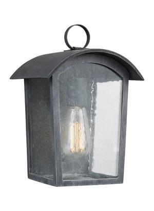 """Feiss Hodges """" Outdoor Wall Lantern in Ash Black"""