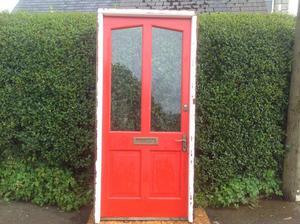 Large wooden hardwood door