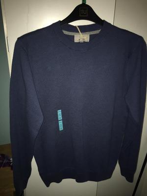 New Men's medium blue jumper m+s with labels