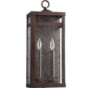"""Quorum Clermont 19"""" 2-Light Outdoor Wall Lantern in Oiled"""