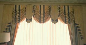 Ready-made blue and cream curtains