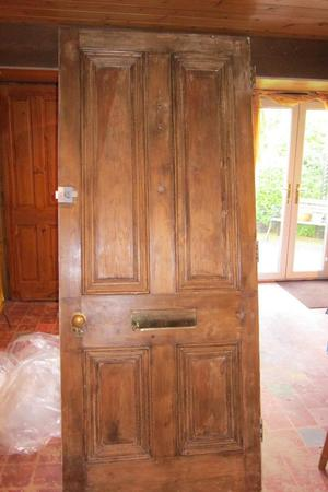 Salvaged Four Panel Thick Pine Door